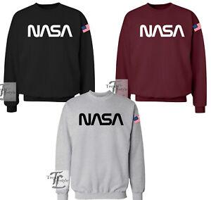 NASA-SPACE-WORDS-LOGO-ASTRONAUT-PRINT-TRENDY-GEEK-MENS-UNISEX-SWEAT-SHIRT