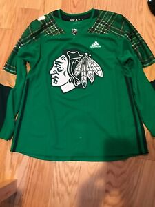 Adidas-NHL-BLACKHAWKS-ST-PATRICK-039-S-DAY-AUTHENTIC-PRACTICE-JERSEY-Size-54-BNWOT
