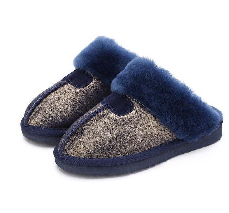 Abrigadas Mujer Zapatos Zapatilla De Casa Zapato De Piel Natural Lana Invierno Gamuza Calzado De Interior