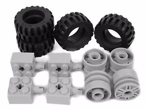 Technic WHEELS set of 8 Tire Wheel 24x14 30.4x14 mm large truck LEGO City