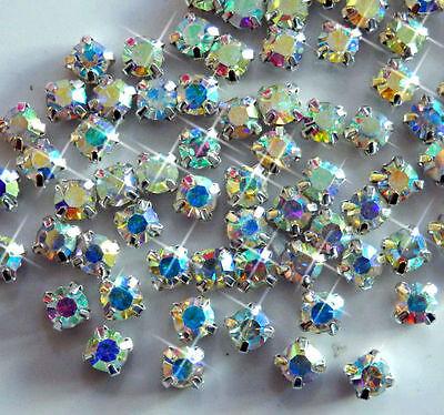 4mm/5mm/6mm 720pcs 5 Gross CLEAR AB SEW-ON GLASS DIAMANTE RHINESTONE CRYSTAL