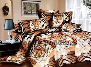 King Extra Large Tiger 3pc 100 Cotton Luxury Duvet Cover