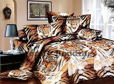 Cal King TIGER 100% Cotton Luxury Bedding Set: 1 Duvet Cover & 2 Pillowcases