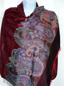 Pashmina-Silk-blend-Shawl-Stole-Wrap-Paisley-design-Red-Maroon-Black-India