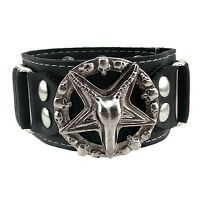 Horned Goat Head Star Pentagram Baphomet Satanic Wiccan Faux Leather Bracelet