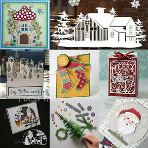 Christmas-House-Village-Metal-Cutting-Dies-Tree-Santa-Stencil-Craft-Cards-Making