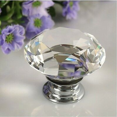 40mm Diamond Shape Crystal Glass Cabinet Knob Cupboard Drawer Pull Handle