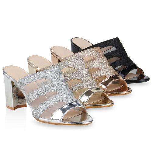 Damen Sandaletten Pantoletten Glitzer Lack Elegante Party 823696 Schuhe