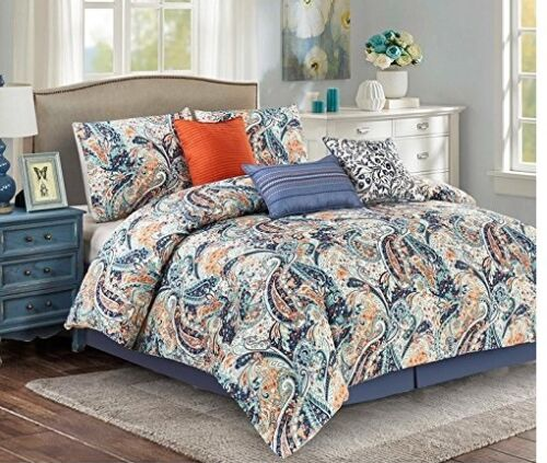 Luxury 7 Pc Oversized Paisley Design Comforter Set Blue And Orange Bedding Set Comforters Bedding Sets