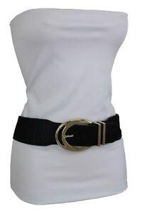Women Waist Hip Blue Stretch Fabric Fashion Belt Gold Metal Square Buckle S M