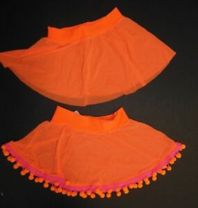 Lot-of-2-mesh-skirts-small-child-Hoop-flo-orange-hot-pink-pompoms-stretch-waist
