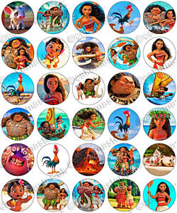 30 X Moana Party Collection Edible Rice Wafer Paper