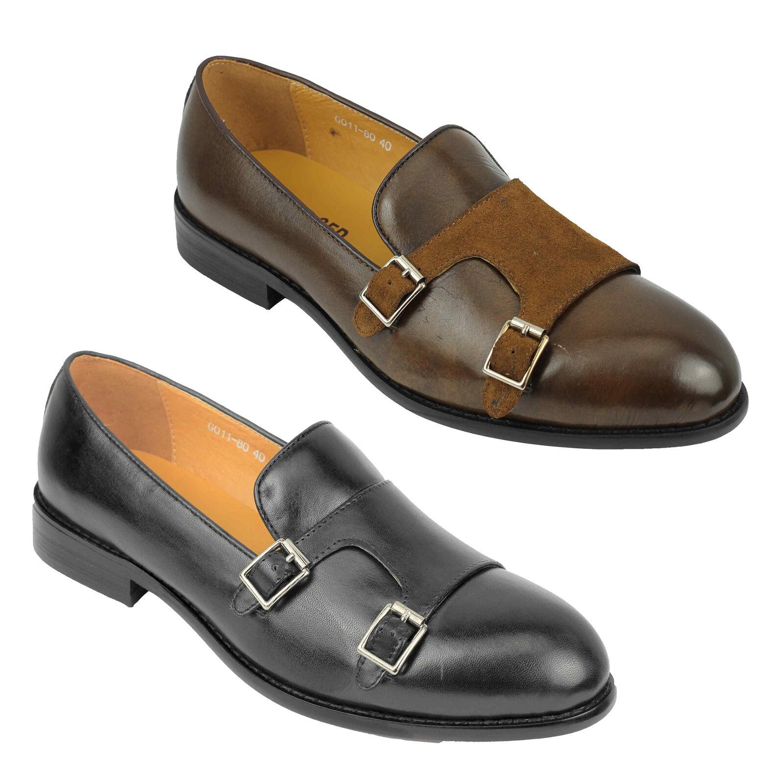 Nuevo Para Hombre Negro Marrón Cuero Real Smart Casual Zapatos monje italiano de diseño de doble