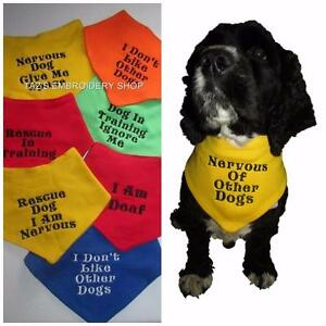 Image is loading PERSONALISED-DOG-BANDANA-WARNING-MESSAGE-TEMPERAMENT-DIET- EMBROIDERED-