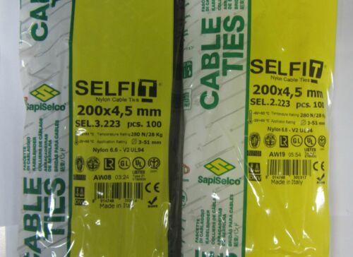 Fascette elettricista professionale cablaggio nylon 100pz RoHS ITALY mm 200x4,5