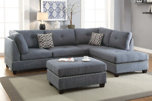 3pcs Blue Grey Polyfiber Fabric Reversible Sectional Sofa Chaise