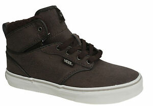 e45a85a745 Vans Off The Atwood Hi Lace Up Brown Leather Kids High Top ...