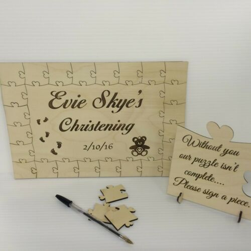 Personalised christening bear2 wooden jigsaw guest book puzzle keepsake gift