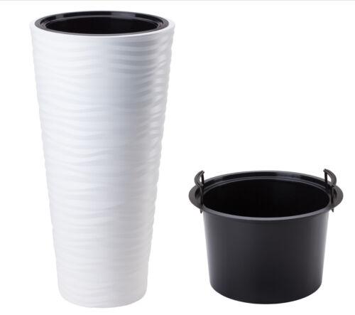 Bac à fleurs slim quelque Vague Extra Haut Pot de fleurs blanc 2x XXXL h:79cm
