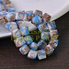 New 10pcs 10mm Cube Square Faceted Glass Loose Spacer Colorful Beads Deep Blue