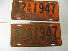 1941 41 Nebraska NE License Plate Pair 32 1947 Thayer County