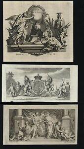 Allegory-Allegorical-prints-1751-lot-x-4-cherubs-angels-unicorn-goddesses-lion
