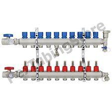 "10-Branch PEX Radiant Floor Heating Manifold Set - Brass, for 3/8"" 1/2"" 5/8"" PEX"