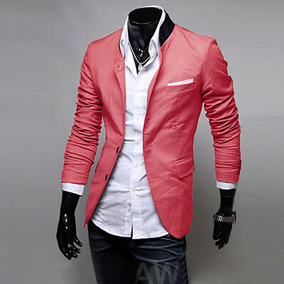 Korean Mens Jackets Coats Shirts Blazers Skinny Slim Fit Stylish Trendy Red S