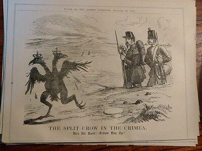 "7x10"" PUNCH cartoon 1855 THE SPLIT CROW IN THE CRIMEA"
