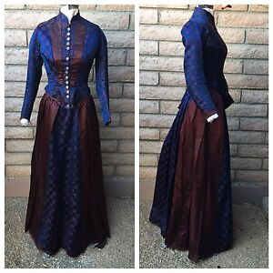 3-Pc-Victorian-Dress-Boned-Bodice-Skirt-Rear-Apron-Navy-Blue-Maroon-Circles-1880