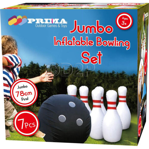 JUMBO INFLATABLE BOWLING GAME BOWL THROW PIN PLAY OUTDOOR TOY KIDS