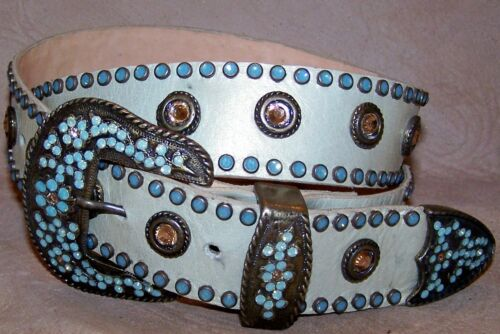 Pearlized Mint Green Pacific Opal Leatherock Western Belt Made with Swarovski S