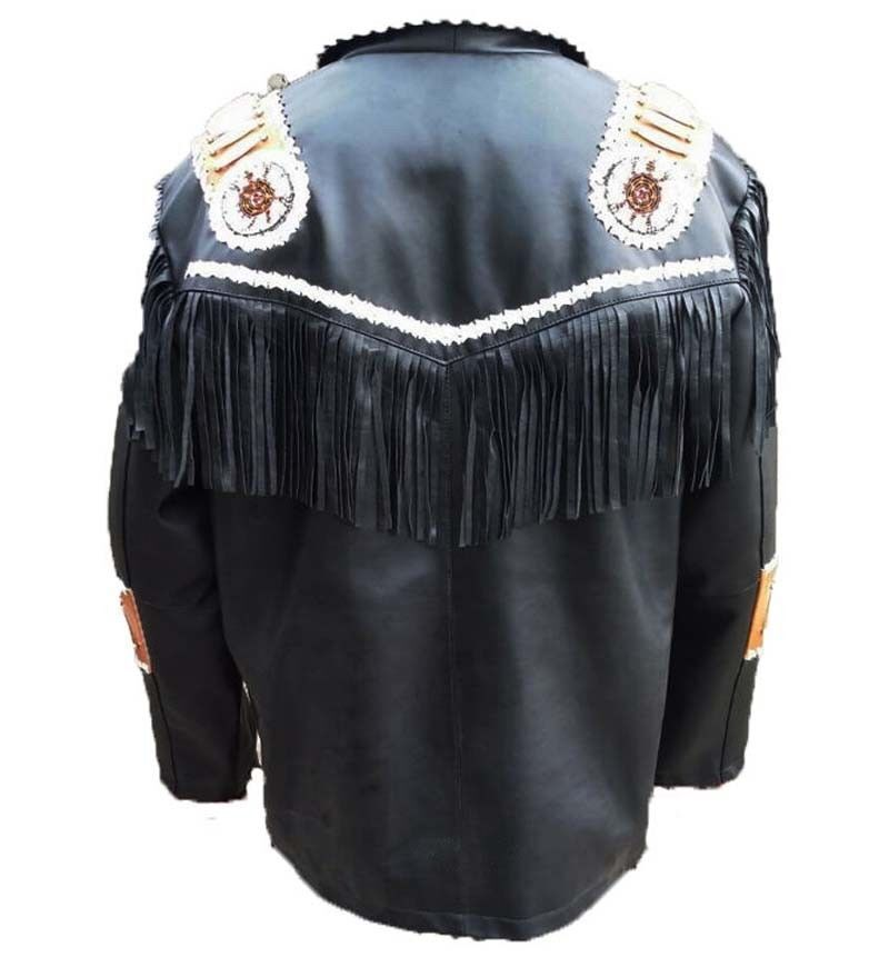 Mens Hand Made Western Suede Leather Wear Cowboy Fringe Style Style Style Beads And Bones | Attraktiv Und Langlebig  04692d