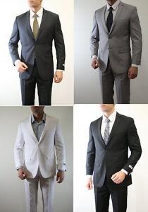 Men-039-s-Solid-Skinny-Slim-Fit-Suit-2-Button-2-Piece-Notch-Lapel-Flat-Front-Pants