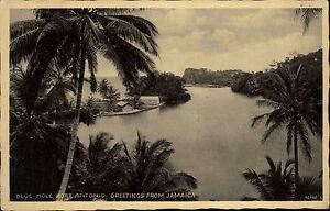 Port-Antonio-Jamaika-Karibik-1920-30-Blue-Hole-Bucht-Jamaica-Vintage-Postcard