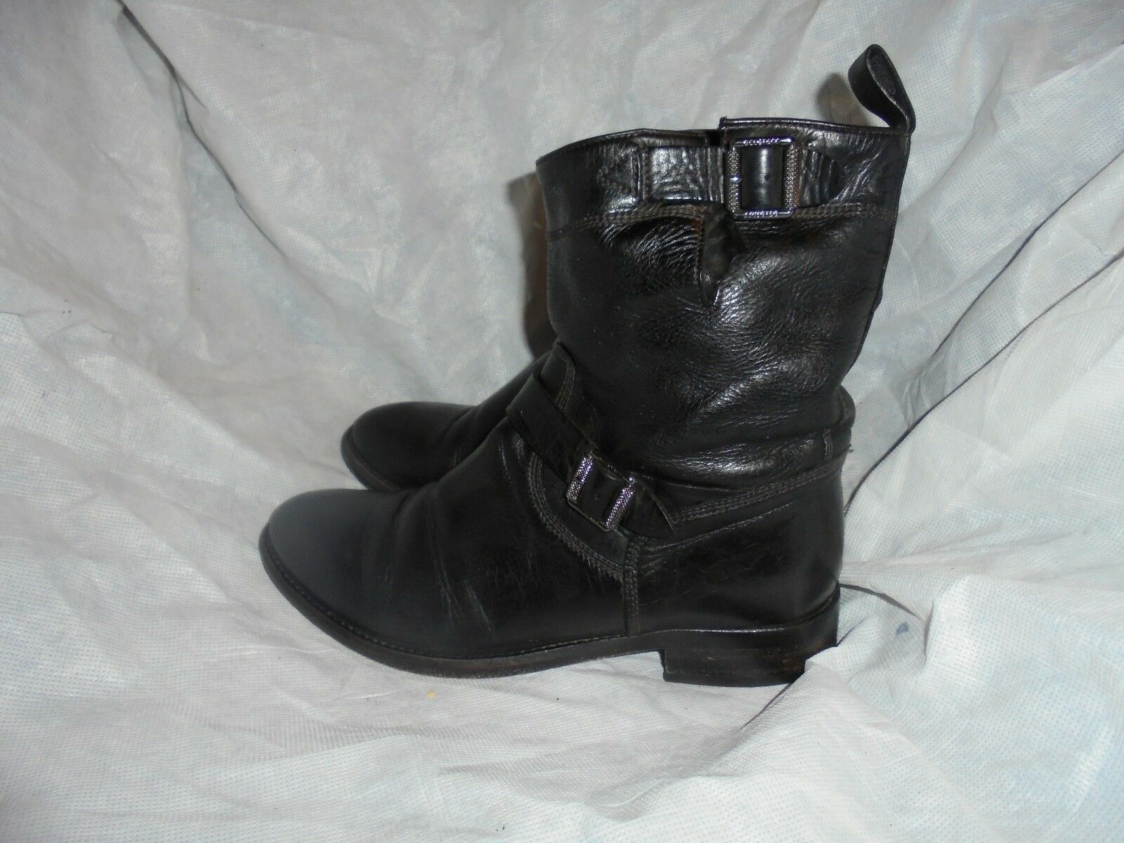 BELSTAFF WOMEN BLACK LEATHER LEATHER LEATHER BUCKLE ANKLE BOOTS SIZE UK 4.5 EU 37.5   VGC 2be4ad