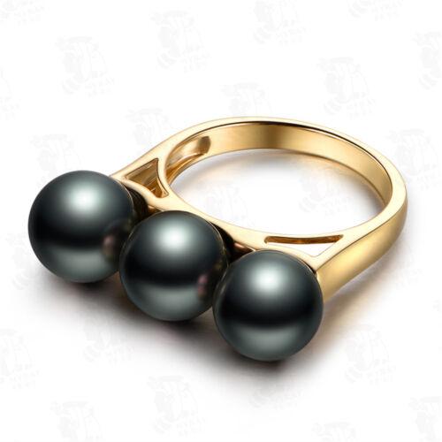 18K Yellow Gold Filled Women Pearl Rings Men Rings J014
