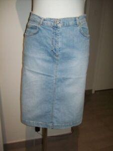 jupe-femme-en-jeans-bleu-taille-38-M-coton-stretch-mi-longue-woman-kirt-size-8