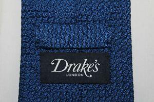 Recent-DRAKE-039-S-Handmade-in-London-Silk-Royal-Blue-Knit-Tie
