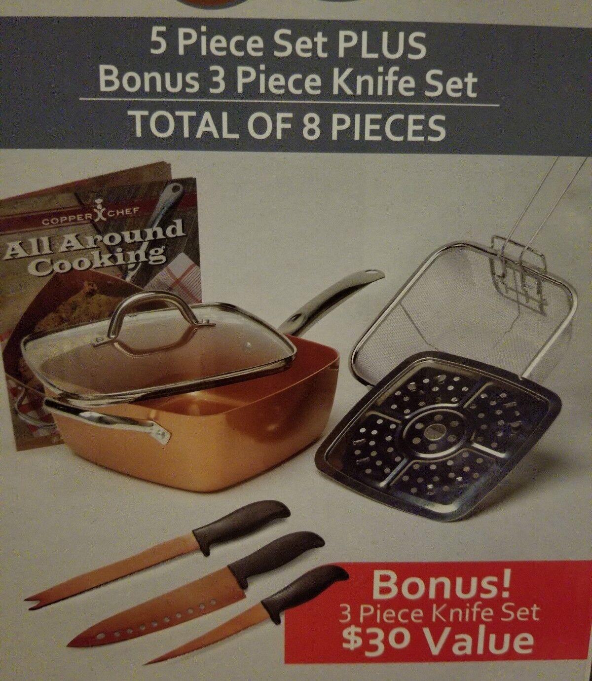 Copper Chef cookware set Including 3 Piece Knife Set And Recipe Cookbook
