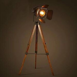 Tripod spotlight floor lamp vintage retro light industrial wooden image is loading tripod spotlight floor lamp vintage retro light industrial mozeypictures Images