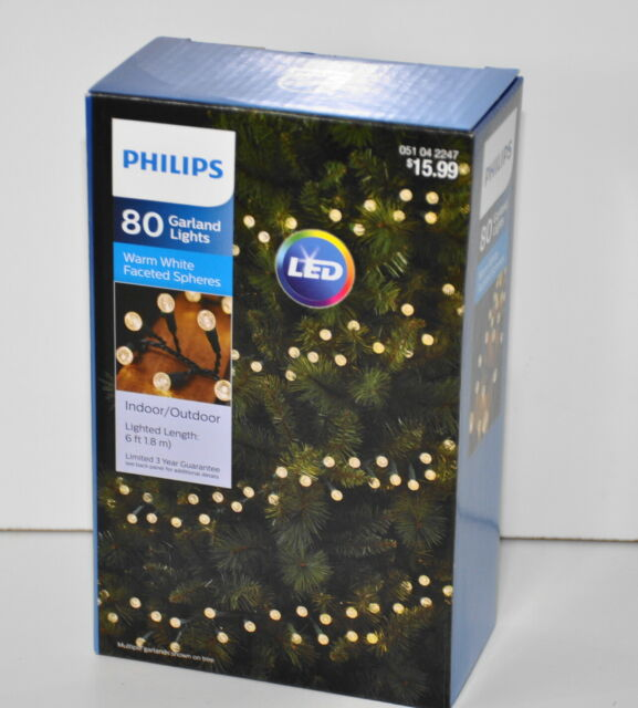 Philips 80ct LED Warm White Faceted Sphere Garland String ...