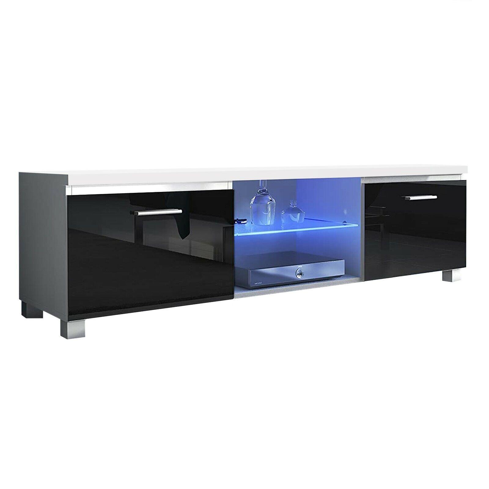 Módulo salón comedor para TV con luces LED, color Blanco Mate y...