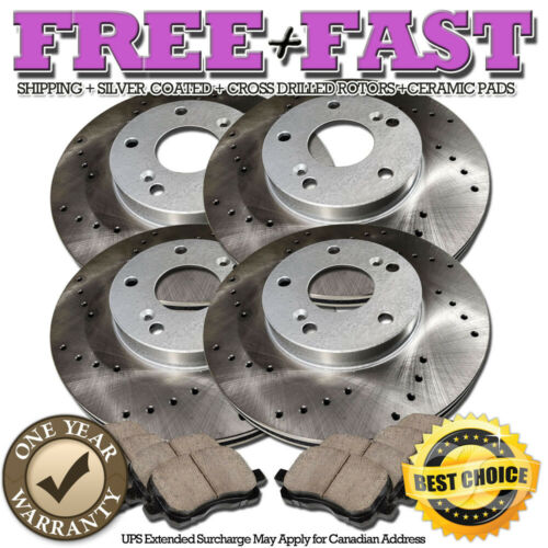C0106 FRONT+REAR Drilled Brake Rotors Ceramic Pad FOR 2006 2007 2008 Ford Fusion