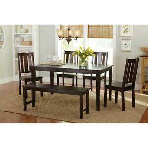 6 Piece Dining Set Wood Chairs Bench Espresso Table Kitchen Seating