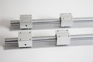 2X SBR16 400mm Linear Linearführung Welle + 4X SBR16UU Block