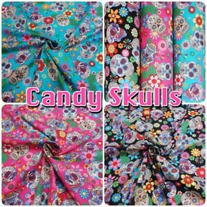 Candy-Skulls-Day-of-the-Dead-Colourful-100-Cotton-Poplin-Halloween-Fabric