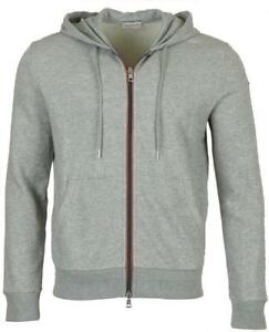 6710cb3a4c215 Image is loading NEW-MONCLER-GRAY-COTTON-LOGO-STRIPES-HOODIE-ZIPPER-