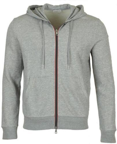 Nieuwe strepen Moncler Rits jas katoenen Grijze Mmedium hoodie logo 5jc4S3ARLq