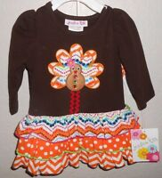 Jessica Ann Baby / Toddler Fall Thanksgiving Turkey Ruffle Dress & Panties Set